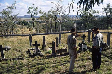 the Gracemere cemetery, on a ridge above the homestead and lagoon