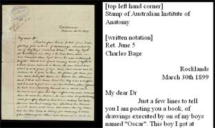 an image of the letter, with transcription of its contents (reduced)