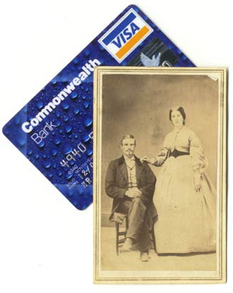 Nineteenth century carte-de-visite by  S H Farnham, Oxford, New York, with a modern credit card
